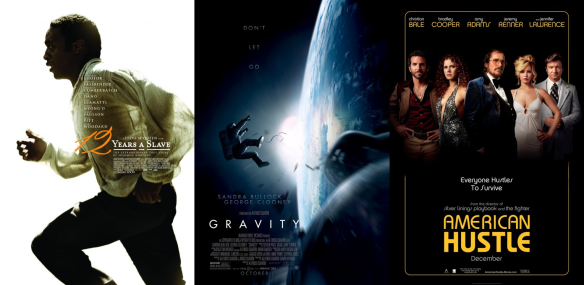 The leading contenders for Best Picture - 12 Years A Slave, Gravity, and American Hustle.
